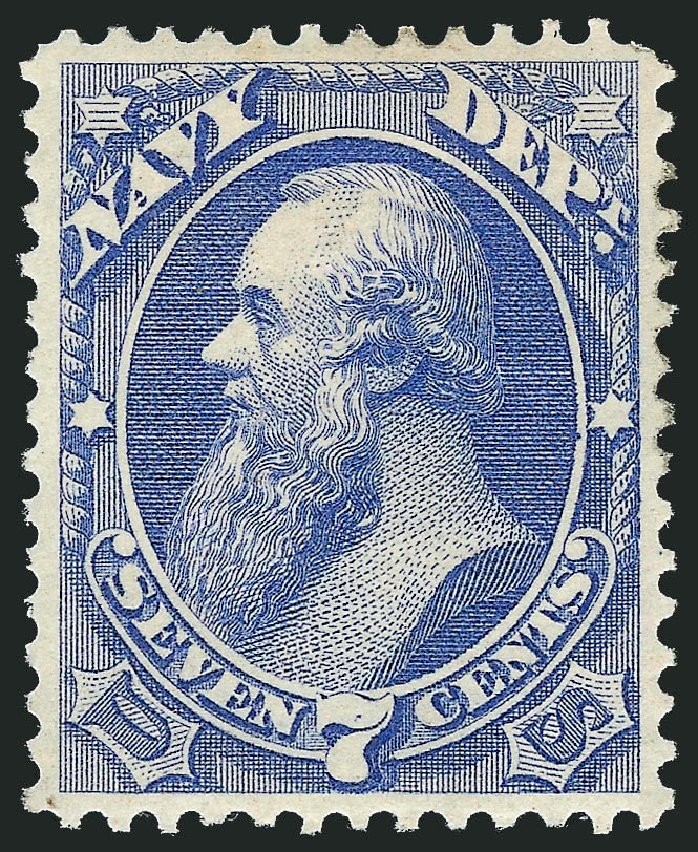 US Stamp Value Scott Cat. # O39: 1873 7c Navy Official. Robert Siegel Auction Galleries, Dec 2011, Sale 1017, Lot 965