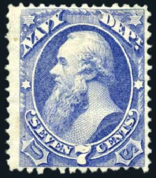 US Stamp Price Scott Cat. O39: 7c 1873 Navy Official. Harmer-Schau Auction Galleries, Feb 2010, Sale 84, Lot 1823