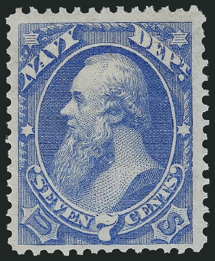 Value of US Stamp Scott Catalogue # O39: 7c 1873 Navy Official. Robert Siegel Auction Galleries, Mar 2013, Sale 1040, Lot 2153