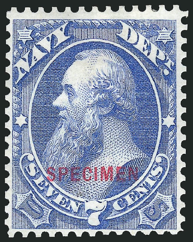 Prices of US Stamp Scott # O39: 1873 7c Navy Official. Robert Siegel Auction Galleries, Mar 2015, Sale 1095, Lot 573