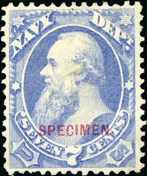 US Stamp Prices Scott Catalog O39 - 1873 7c Navy Official. Spink Shreves Galleries, Jan 2015, Sale 150, Lot 253