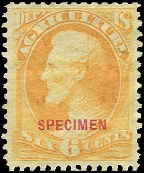 Value of US Stamps Scott Catalogue O4 - 6c 1873 Agriculture Official. Regency-Superior, Jan 2015, Sale 109, Lot 1537