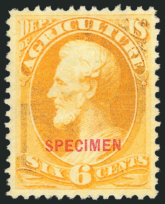 Value of US Stamps Scott O4 - 1873 6c Agriculture Official. Robert Siegel Auction Galleries, Nov 2013, Sale 1061, Lot 4198