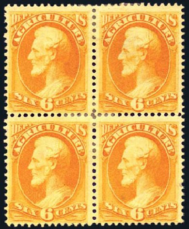 US Stamps Prices Scott Catalogue O4: 1873 6c Agriculture Official. Harmer-Schau Auction Galleries, Aug 2011, Sale 90, Lot 1699