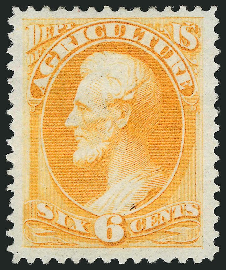 Values of US Stamps Scott Catalog # O4 - 6c 1873 Agriculture Official. Robert Siegel Auction Galleries, Nov 2014, Sale 1085, Lot 4012