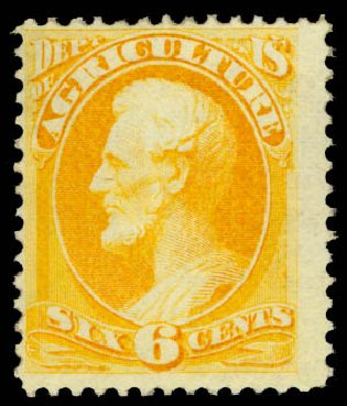 Prices of US Stamp Scott Cat. O4 - 6c 1873 Agriculture Official. Daniel Kelleher Auctions, Aug 2015, Sale 672, Lot 2973