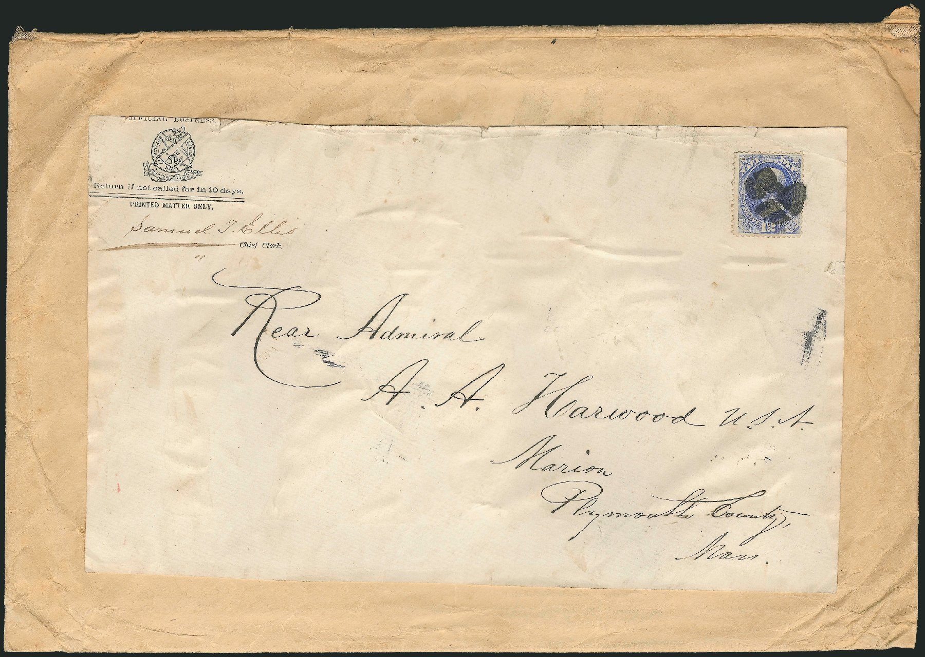 US Stamps Prices Scott Cat. # O41: 1873 12c Navy Official. Robert Siegel Auction Galleries, Nov 2014, Sale 1085, Lot 4077