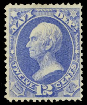 US Stamps Values Scott Catalogue #O41: 1873 12c Navy Official. Daniel Kelleher Auctions, May 2015, Sale 669, Lot 3364