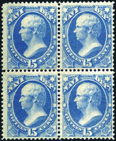 Costs of US Stamp Scott #O42 - 1873 15c Navy Official. Harmer-Schau Auction Galleries, Aug 2011, Sale 90, Lot 1727
