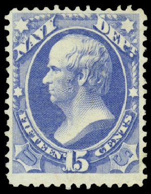 US Stamps Value Scott #O42 - 15c 1873 Navy Official. Daniel Kelleher Auctions, Dec 2013, Sale 640, Lot 609