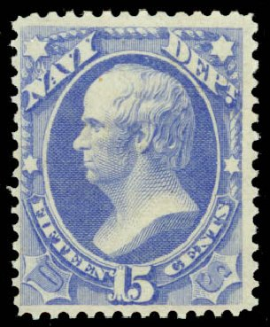 Values of US Stamp Scott Catalogue O42: 1873 15c Navy Official. Daniel Kelleher Auctions, Jan 2015, Sale 663, Lot 2154