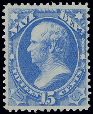 Value of US Stamps Scott Catalogue #O42: 1873 15c Navy Official. Matthew Bennett International, Jun 2008, Sale 328, Lot 1225