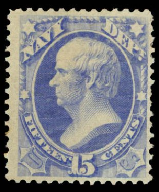 US Stamp Value Scott O42: 15c 1873 Navy Official. Daniel Kelleher Auctions, May 2015, Sale 669, Lot 3365