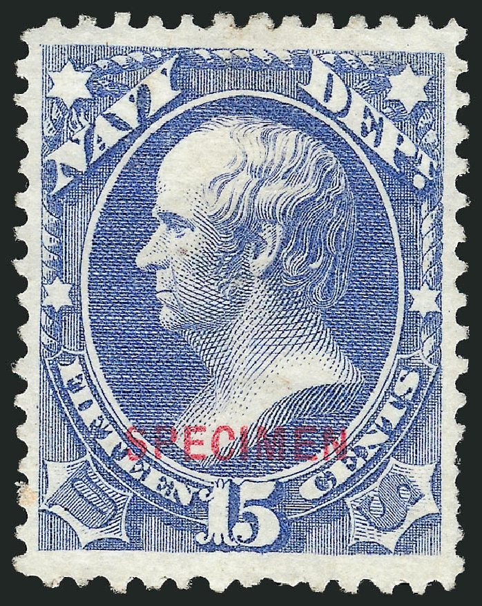 Values of US Stamps Scott Catalogue #O42: 1873 15c Navy Official. Robert Siegel Auction Galleries, Mar 2015, Sale 1095, Lot 576