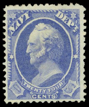 Prices of US Stamps Scott Catalog #O43: 1873 24c Navy Official. Daniel Kelleher Auctions, May 2015, Sale 669, Lot 3367
