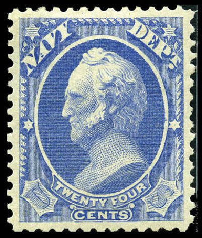 Price of US Stamp Scott Catalog O43: 1873 24c Navy Official. Matthew Bennett International, Feb 2012, Sale 340, Lot 598