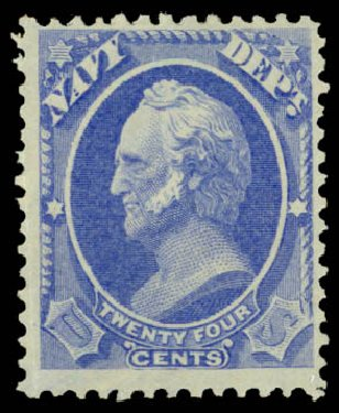 US Stamps Prices Scott O43: 1873 24c Navy Official. Daniel Kelleher Auctions, Dec 2013, Sale 640, Lot 610