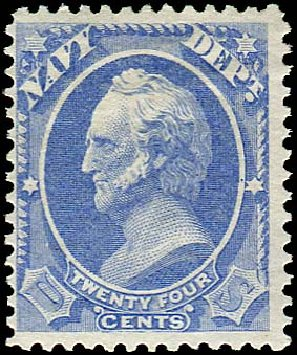 Prices of US Stamps Scott # O43 - 24c 1873 Navy Official. Regency-Superior, Jan 2015, Sale 109, Lot 1550