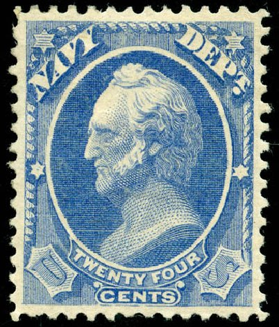 Prices of US Stamps Scott Catalog #O43 - 24c 1873 Navy Official. Matthew Bennett International, Jun 2008, Sale 328, Lot 1226