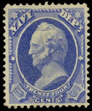 US Stamp Values Scott Catalogue O43 - 24c 1873 Navy Official. Daniel Kelleher Auctions, May 2015, Sale 669, Lot 3366