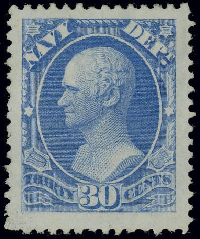 US Stamps Prices Scott Cat. #O44: 1873 30c Navy Official. Matthew Bennett International, Jun 2008, Sale 328, Lot 1227