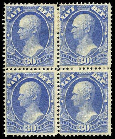US Stamps Value Scott Catalogue #O44: 1873 30c Navy Official. Matthew Bennett International, Mar 2011, Sale 336, Lot 1407