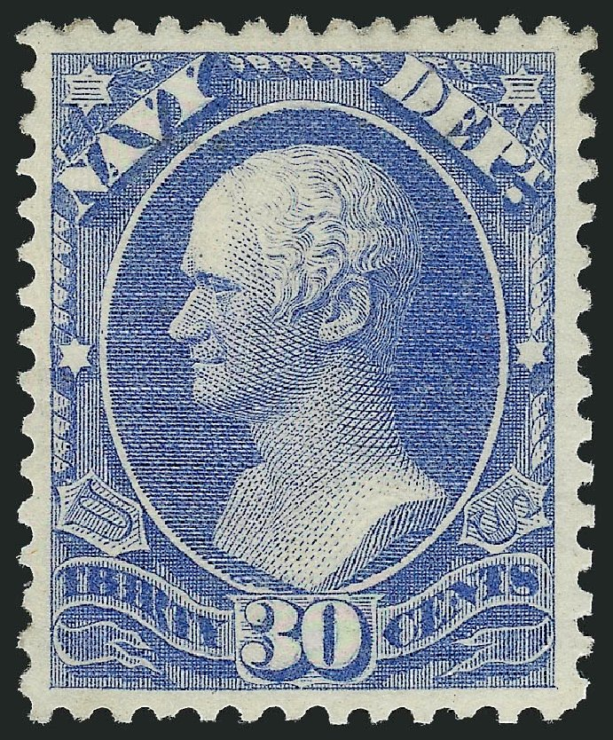 US Stamps Prices Scott Cat. #O44: 1873 30c Navy Official. Robert Siegel Auction Galleries, Jul 2013, Sale 1050, Lot 767