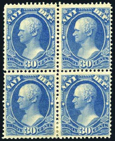 US Stamp Value Scott O44: 1873 30c Navy Official. Harmer-Schau Auction Galleries, Aug 2011, Sale 90, Lot 1728