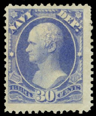 Prices of US Stamps Scott Catalogue O44: 30c 1873 Navy Official. Daniel Kelleher Auctions, May 2015, Sale 669, Lot 3368