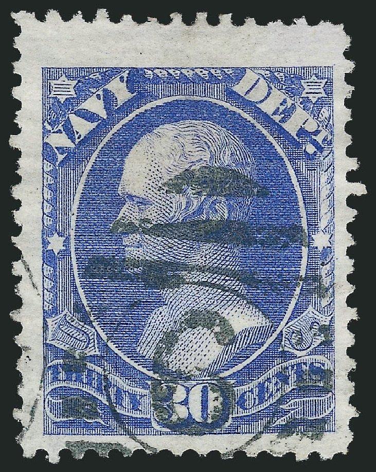 US Stamps Prices Scott Catalog #O44 - 30c 1873 Navy Official. Robert Siegel Auction Galleries, Dec 2011, Sale 1017, Lot 968