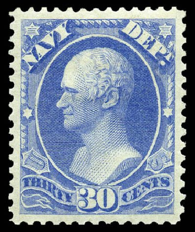 US Stamps Values Scott Catalog #O44: 30c 1873 Navy Official. Matthew Bennett International, Feb 2012, Sale 340, Lot 599
