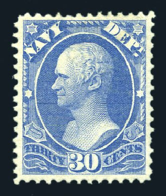Values of US Stamp Scott #O44: 30c 1873 Navy Official. Harmer-Schau Auction Galleries, Aug 2015, Sale 106, Lot 2149