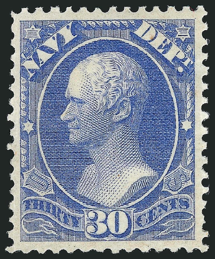 Values of US Stamp Scott Catalog #O44 - 30c 1873 Navy Official. Robert Siegel Auction Galleries, Mar 2012, Sale 1019, Lot 969
