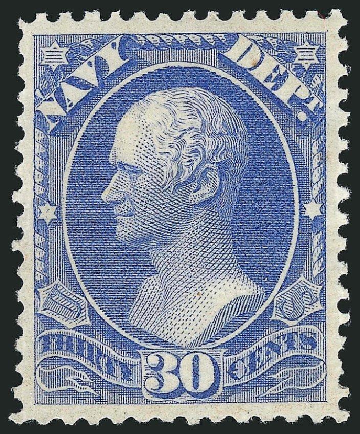 Values of US Stamp Scott Catalog #O44 - 30c 1873 Navy Official. Robert Siegel Auction Galleries, Mar 2012, Sale 1019, Lot 969