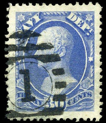 US Stamps Price Scott Catalogue O44 - 1873 30c Navy Official. Matthew Bennett International, Sep 2011, Sale 338, Lot 2050
