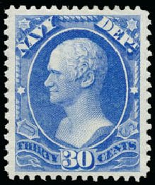 Prices of US Stamp Scott Catalogue O44 - 30c 1873 Navy Official. Schuyler J. Rumsey Philatelic Auctions, Apr 2015, Sale 60, Lot 2570