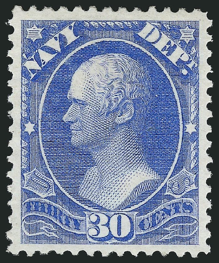 US Stamps Value Scott Catalog # O44: 30c 1873 Navy Official. Robert Siegel Auction Galleries, Nov 2014, Sale 1085, Lot 4071
