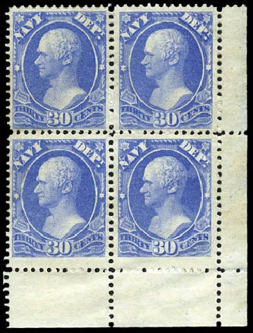 US Stamp Prices Scott Catalog #O44 - 1873 30c Navy Official. Matthew Bennett International, Mar 2011, Sale 337, Lot 3184