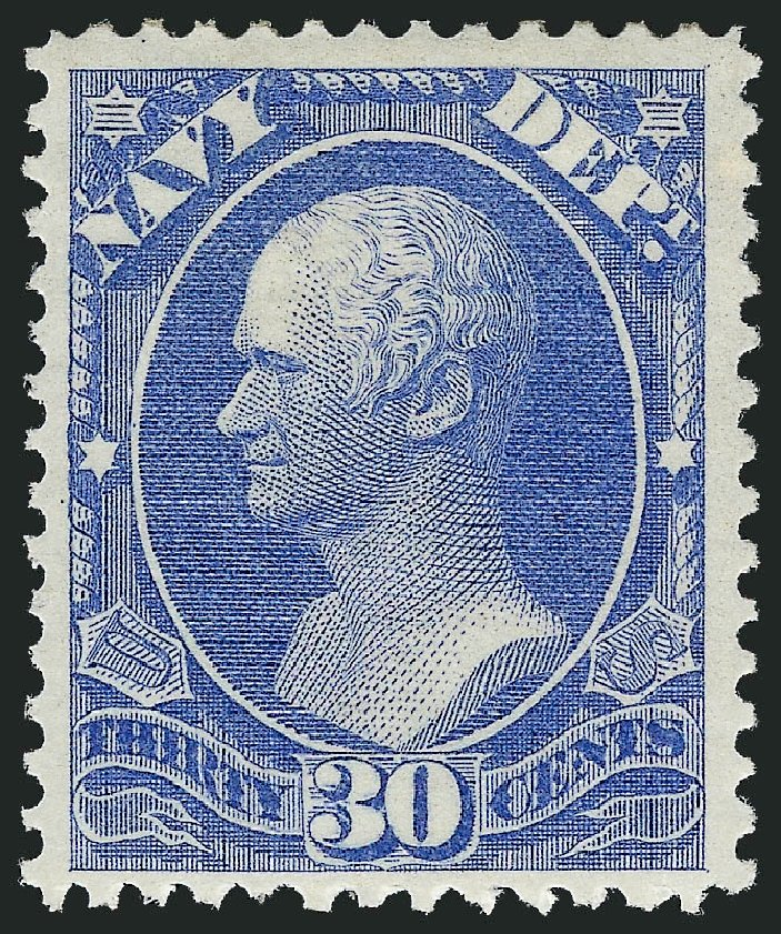 Values of US Stamps Scott Catalogue #O44: 30c 1873 Navy Official. Robert Siegel Auction Galleries, Oct 2011, Sale 1014, Lot 2352
