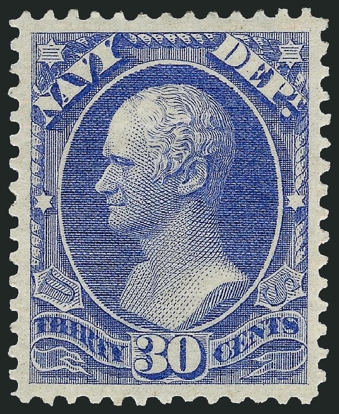 US Stamps Prices Scott Cat. #O44: 1873 30c Navy Official. Robert Siegel Auction Galleries, Sep 2008, Sale 962, Lot 3032