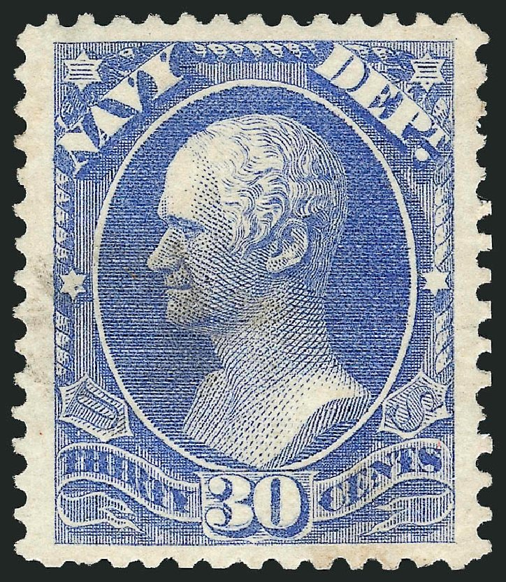 US Stamps Prices Scott Catalogue # O44: 1873 30c Navy Official. Robert Siegel Auction Galleries, Dec 2013, Sale 1062, Lot 836
