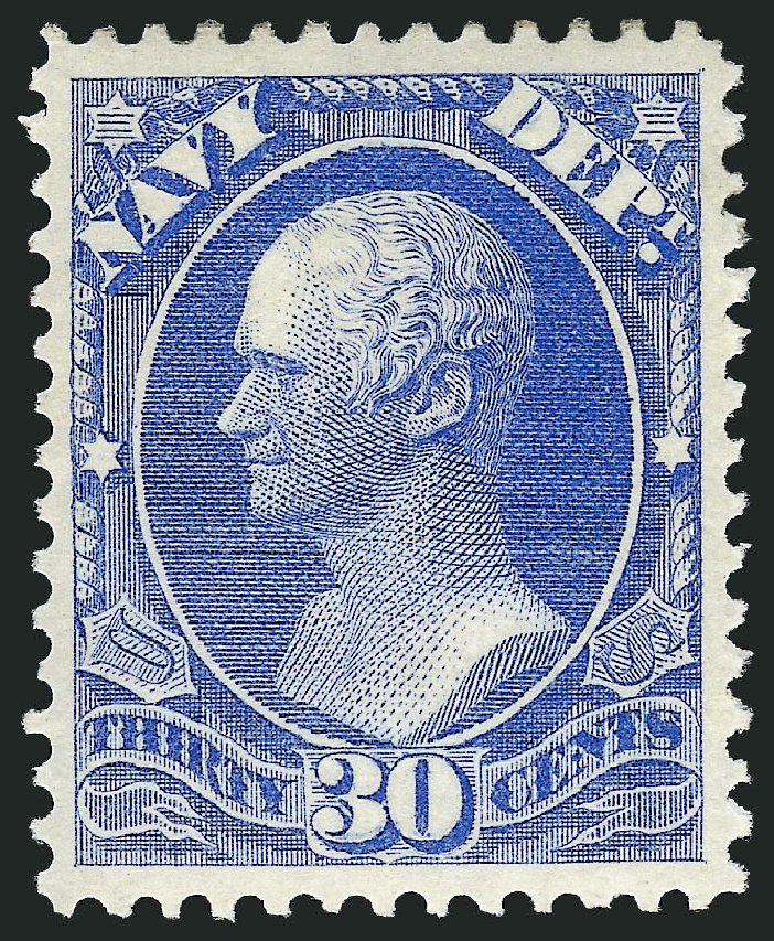 US Stamp Values Scott Catalog O44: 30c 1873 Navy Official. Robert Siegel Auction Galleries, Mar 2014, Sale 1067, Lot 1716