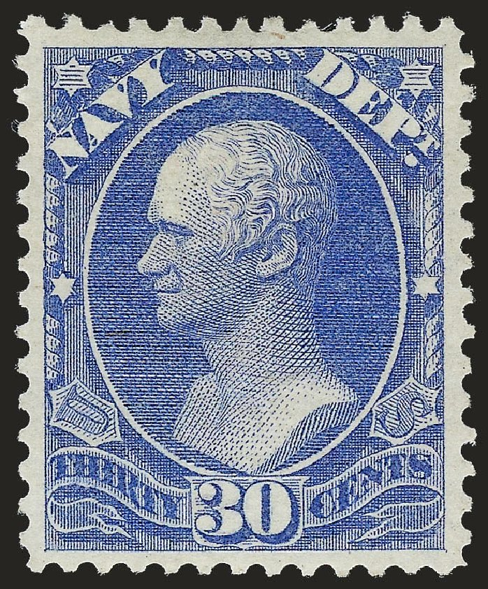 Cost of US Stamp Scott Catalog O44: 1873 30c Navy Official. Robert Siegel Auction Galleries, Dec 2009, Sale 978, Lot 1136