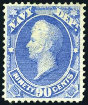 Costs of US Stamp Scott Catalog #O45 - 1873 90c Navy Official. Harmer-Schau Auction Galleries, Jun 2008, Sale 78, Lot 1747