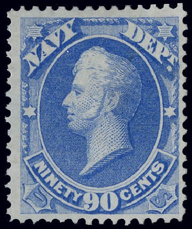 Values of US Stamps Scott Cat. #O45 - 90c 1873 Navy Official. Matthew Bennett International, Jun 2008, Sale 328, Lot 1228