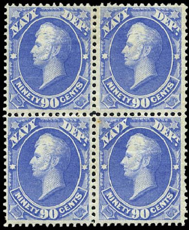 Values of US Stamps Scott #O45: 1873 90c Navy Official. Matthew Bennett International, Mar 2011, Sale 336, Lot 1408