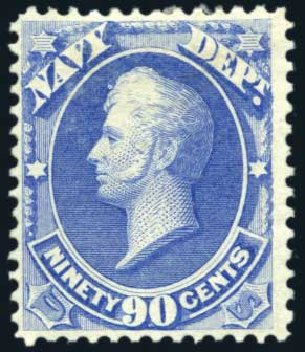 Values of US Stamps Scott O45: 1873 90c Navy Official. Harmer-Schau Auction Galleries, Aug 2011, Sale 90, Lot 1729