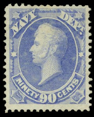 Price of US Stamp Scott # O45: 1873 90c Navy Official. Daniel Kelleher Auctions, May 2015, Sale 669, Lot 3369