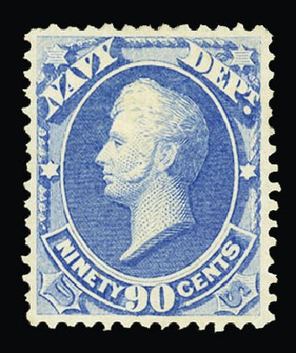 US Stamp Price Scott #O45 - 1873 90c Navy Official. Cherrystone Auctions, Jul 2015, Sale 201507, Lot 2220