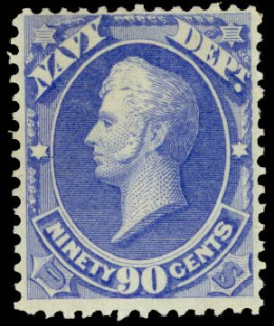 Values of US Stamps Scott Cat. # O45 - 90c 1873 Navy Official. Daniel Kelleher Auctions, Aug 2015, Sale 672, Lot 2990